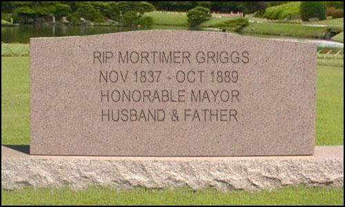 Mortimer Griggs Tombstone At Woodland Springs Cemetary