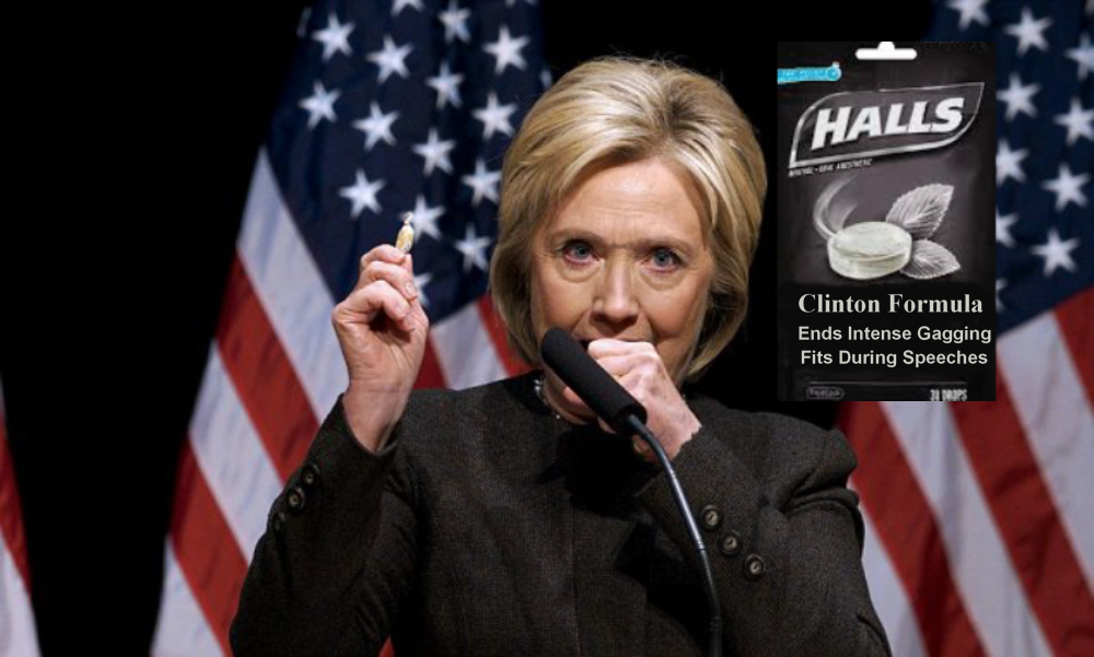 Hillary Clinton Gets Lucrative Hall's Cough Drop Endorsement In Form Of Hall's Clinton Formula For Public Gagging Fits!