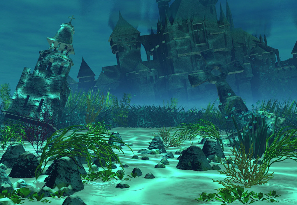 The Ancient Ruins Of Old Atlantis Somewhere Near The Great Mermaid City Of New Atlantis Which is Usually Just Called Atlantis.