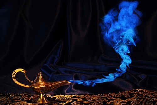 Genie materializing from his lamp in a dazzling display of blue smoke.