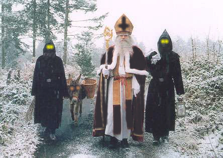 Rare photo of Ancient Anti-Claus in 7th century AD with two demonic Warlock servants. Photo Courtesy of Time Traveler Michael Remington.