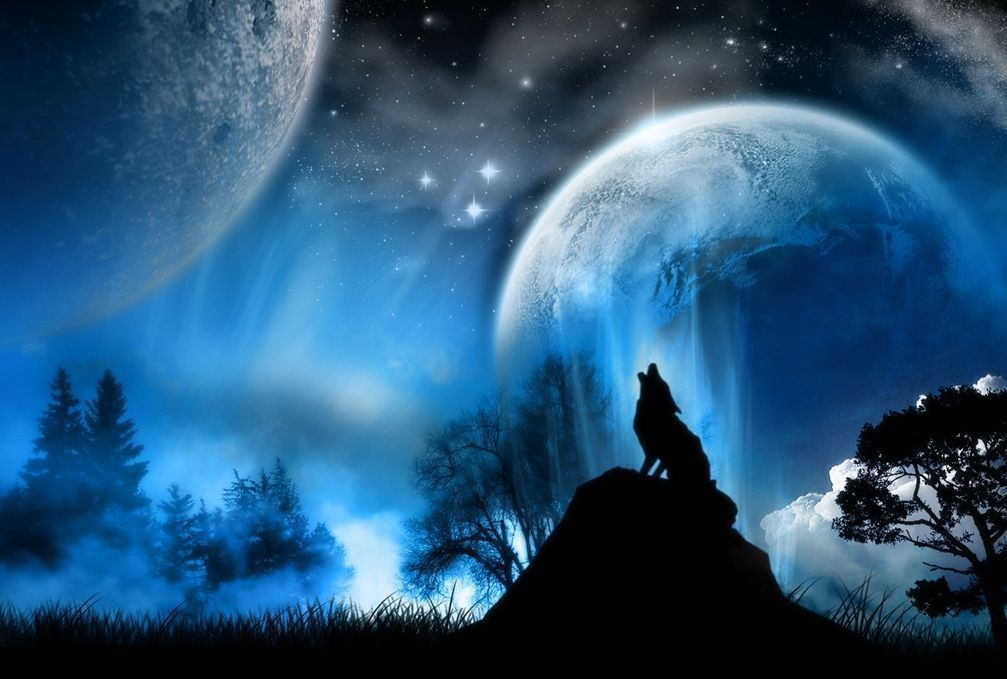 Lone Werewolf Of The Night Overlooking A Mystical Sky.