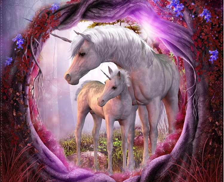 Unicorn Mother And Child